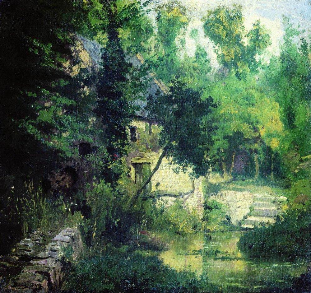 картина В. Поленова Мельница у истоков реки Вёль. 1874 г.