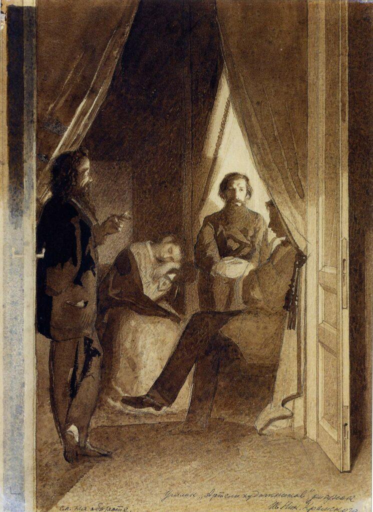 Уголок Артели художников, 1860. Крамской И. Н.