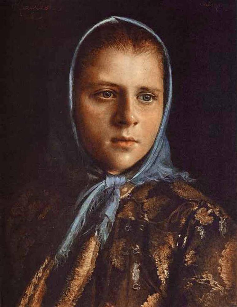 """картина Крамского """"Русская девушка в голубой шали"""", 1882"""