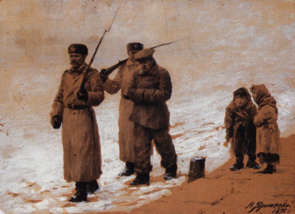 картина Ярошенко Н., Арестованного ведут. 1891