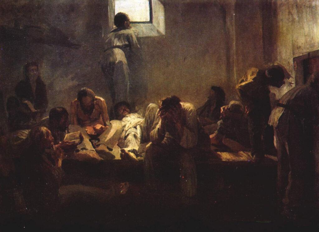 картина Ярошенко Н. В пересыльной тюрьме.