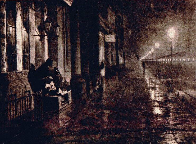 """картина Ярошенко Н. """"Невский проспект осенней ночью"""","""