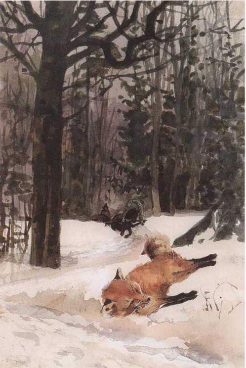 Иллюстрация Поленовой к сказке Волк и лиса. 1886-1889