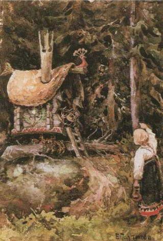 Иллюстрация к сказке Избушка на курьих ножках. 1886-1889