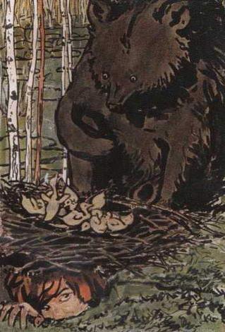 Иллюстрация к сказке Отчего медведь стал куцый. 1890-е