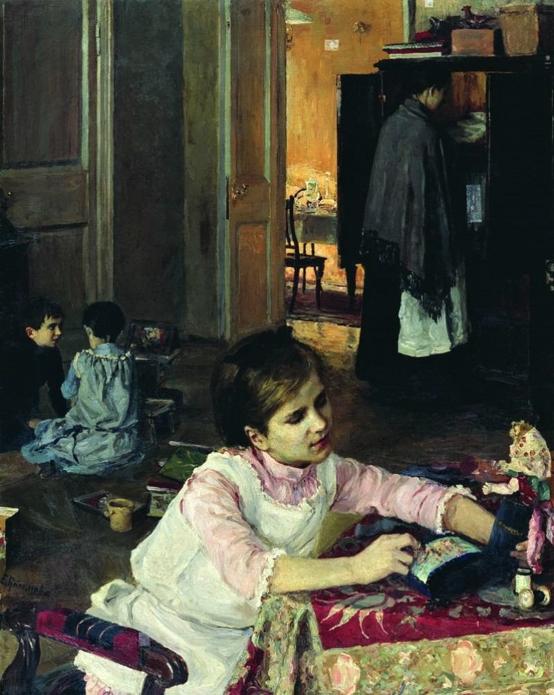"""Картина Е. Поленовой """"В детской"""". 1892"""
